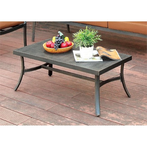 Camille Patio Coffee Table in Black - Furniture of America - image 1 of 1