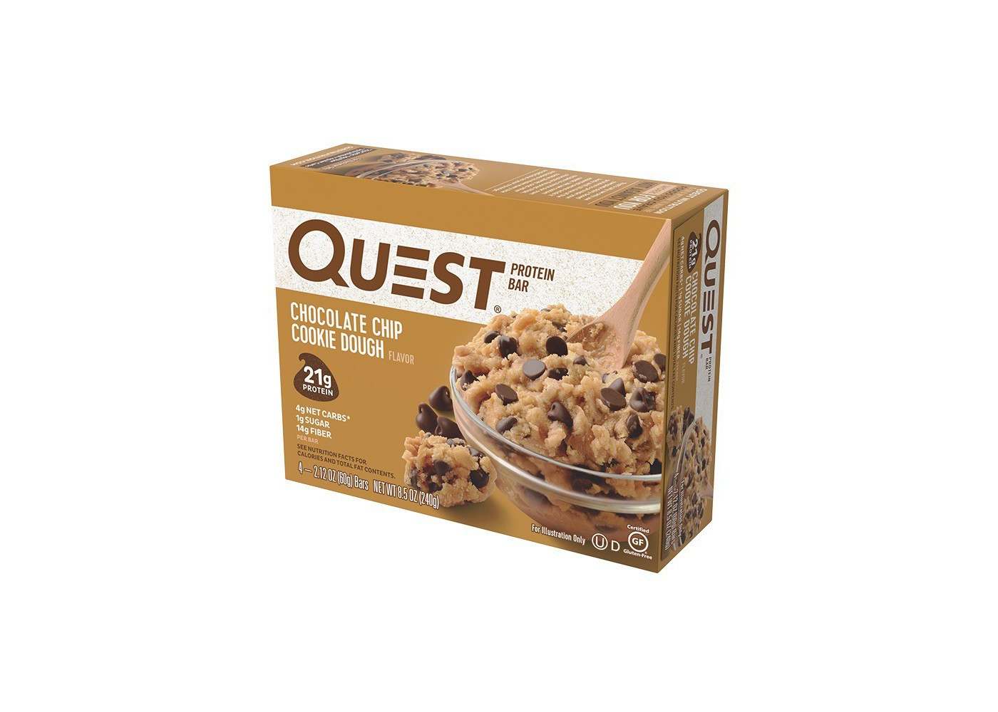 Quest Nutrition Protein Bar - Chocolate Chip Cookie Dough - 4ct