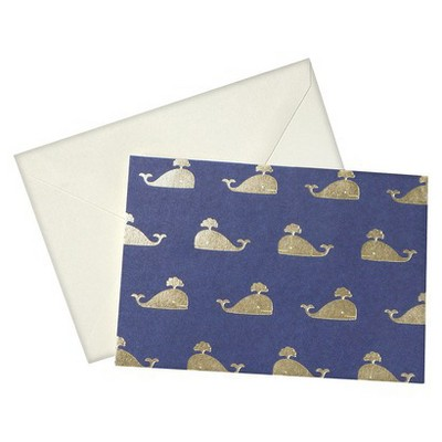 24ct Metallic Whales Blank Cards