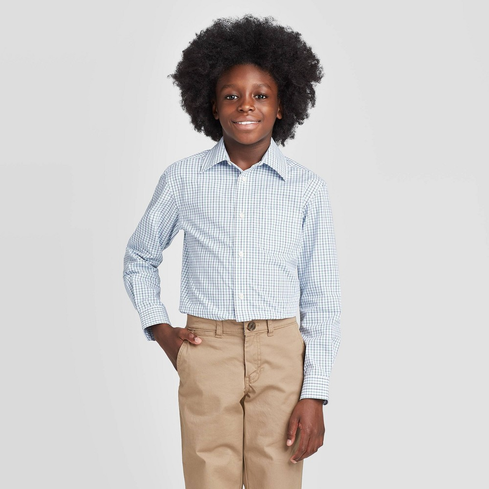 Image of Boys' Long Sleeve Button-Down Suiting Shirt - Cat & Jack White/Green L, Boy's, Size: Large, Blue Green