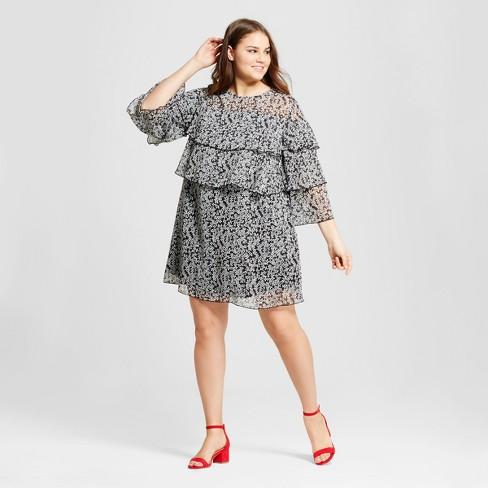 fd808dbae8 Women s Plus Size Layered Ruffle Mini Dress - Who What Wear ™   Target