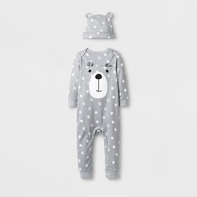 Baby Boys' 2pc Bear Coverall Set - Cloud Island™ Gray 3-6M