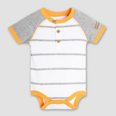 Burt's Bees Baby Boys' Organic Cotton Henley Raglan Bodysuit - Cloud 0-3M