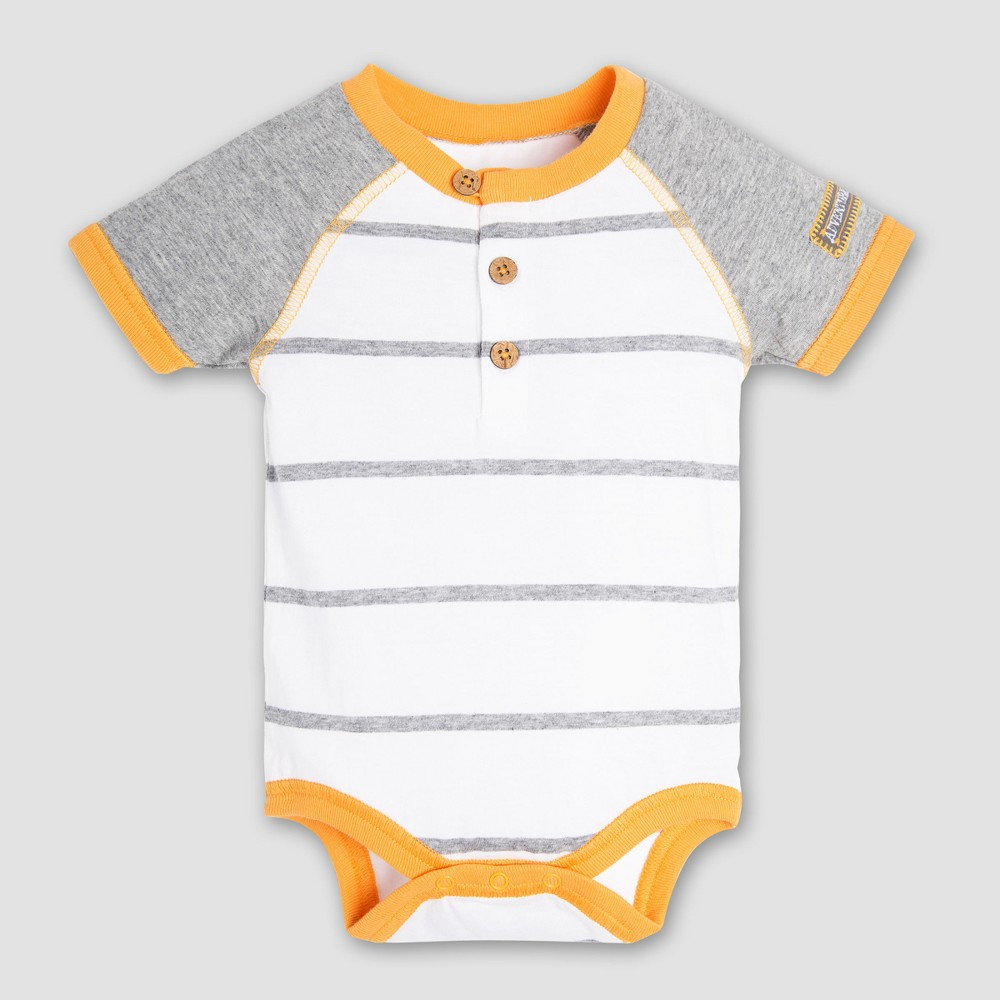 Burt's Bees Baby Boys' Organic Cotton Henley Raglan Bodysuit - Cloud 12M, Multicolored