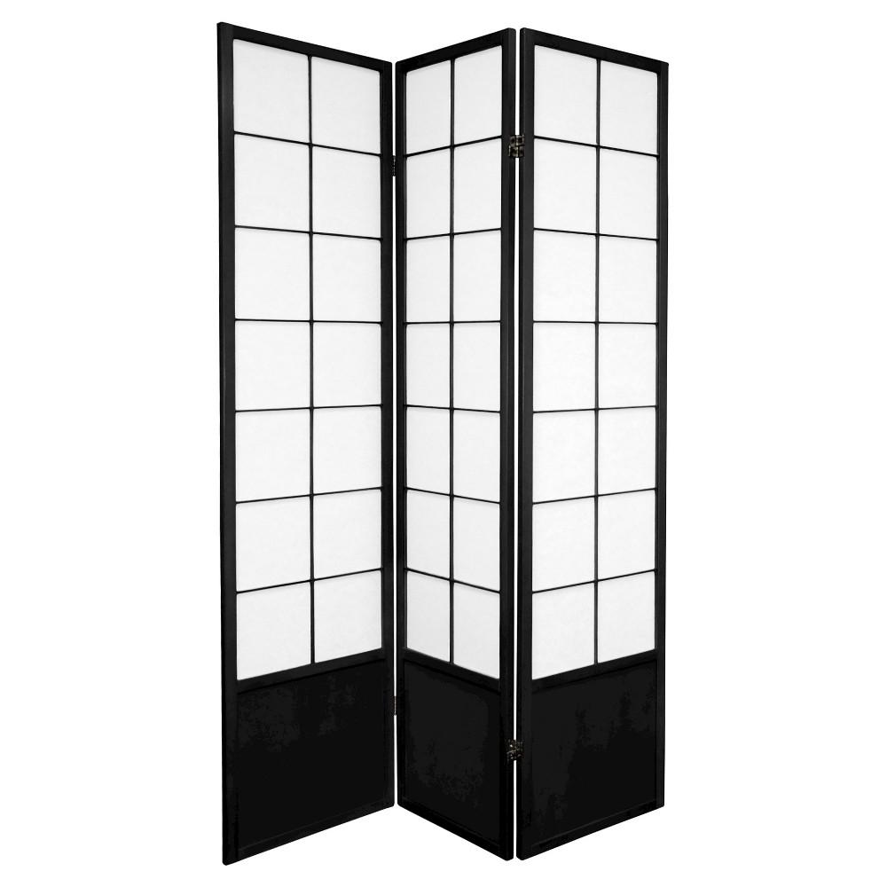 6 ft. Tall Zen Shoji Screen - Black (3 Panels)