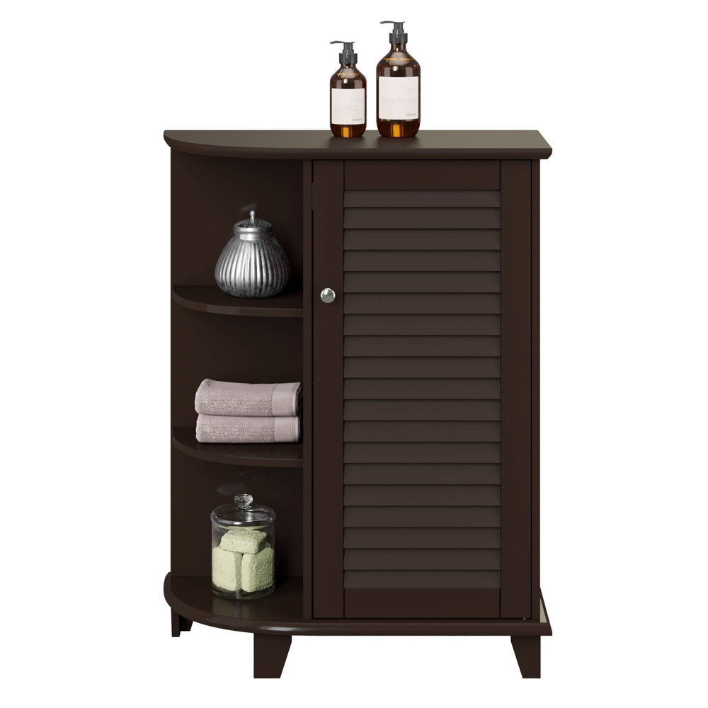 Image of Floor Cabinet with Decorative Shelves and Shutter Door Espresso Brown