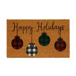 """Farmhouse Living Holiday Rustic Ornaments Coir Mat - 18"""" x 30"""" - Natural - Elrene Home Fashions"""