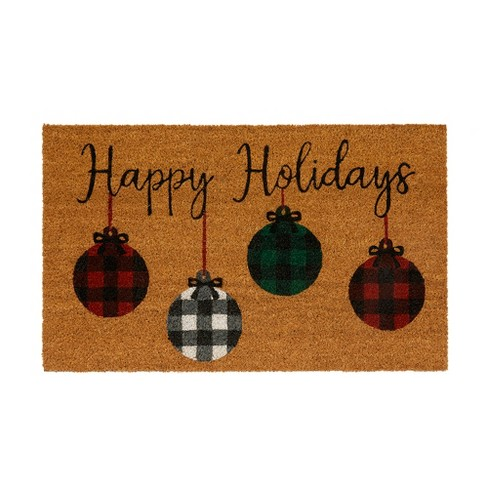 """Farmhouse Living Holiday Rustic Ornaments Coir Mat - 18"""" x 30"""" - Natural - Elrene Home Fashions - image 1 of 3"""