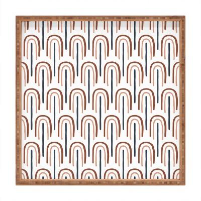 Emanuela Carratoni Modern Rainbow Pattern Square Bamboo Tray - Deny Designs