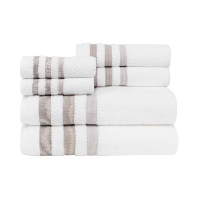 6pc Crinkle Bath Towel Set White - CARO HOME