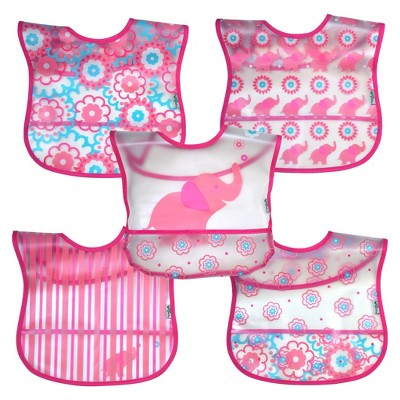 green sprouts® Wipe-off Bibs (5 pack)- Pink Elephant