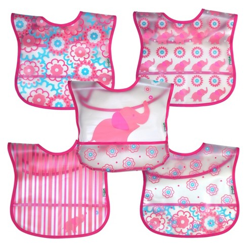 green sprouts® Wipe-off Bibs (5 pack) - Pink Elephant - image 1 of 4