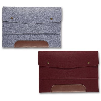 Blue Panda 2-Pack Wool Felt File Folder for 13-inch Laptop A4 Paper Envelope Style Bag with Snap Buttons Features Faux Leather Accent Gray Burgundy