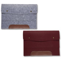 2-Pack Wool Felt File Folder for 13-inch Laptop & A4 Paper, Envelope Style Bag with Snap Buttons Features Faux Leather Accent, Gray & Burgundy