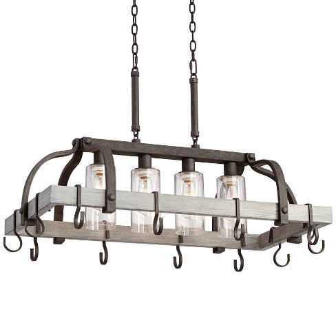 Franklin Iron Works Bronze Gray Wood Pot Rack Pendant Chandelier 36 Wide Farmhouse Seedy Glass 4 Light Fixture For Kitchen Island Target