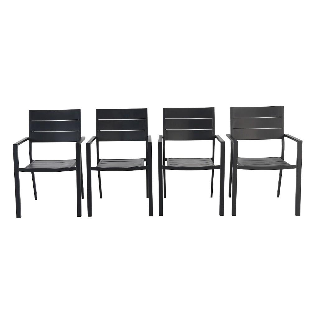 4pk Metal Slat Stack Patio Chair - Black - Threshold