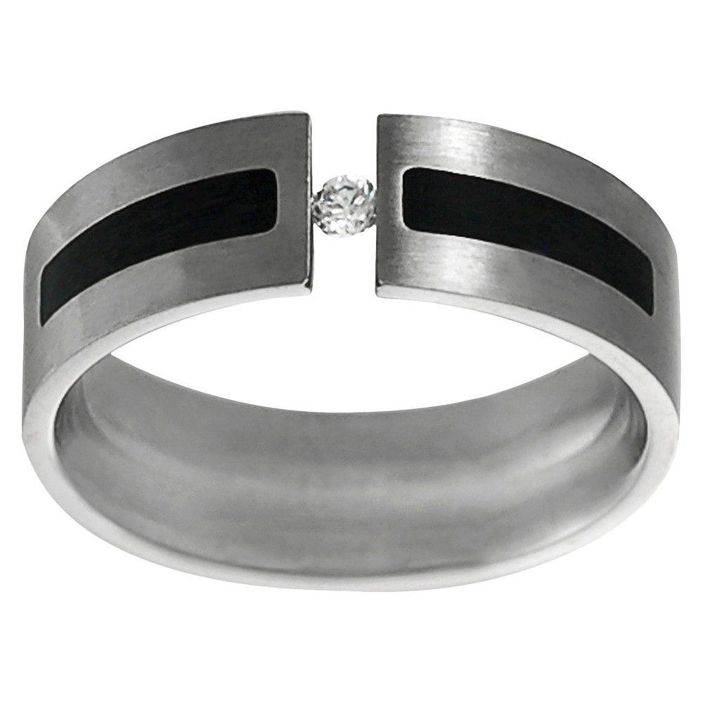 Men's Daxx Stainless Steel Cubic Zirconia Wedding Band - Silver/Black (9) (7MM)