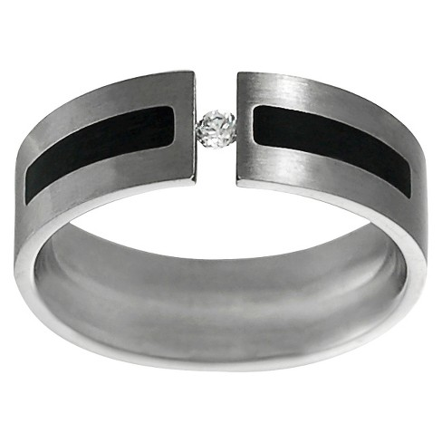 Men's Daxx Stainless Steel Cubic Zirconia Wedding Band - Silver (7mm) - image 1 of 4