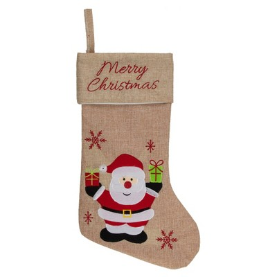 """Northlight 19"""" Beige and Red Santa Claus Embroidered Christmas Stocking"""