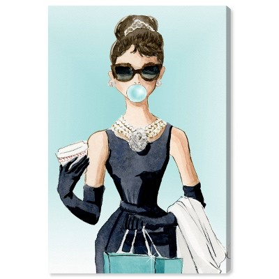 "15"" x 10"" Bubble Gum and Diamonds People and Portraits Unframed Canvas Wall Art in Blue - Oliver Gal"