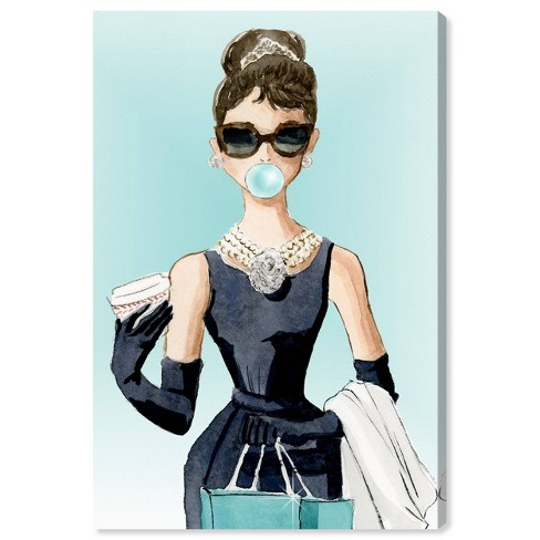 """15"""" x 10"""" Bubble Gum and Diamonds People and Portraits Unframed Canvas Wall Art in Blue - Oliver Gal - image 1 of 4"""