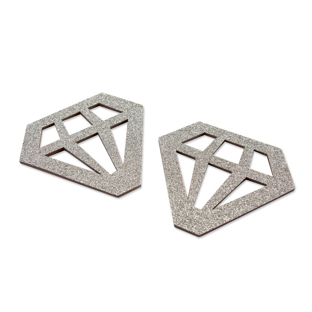 Image of 24ct Diamond Shaped Coasters Silver