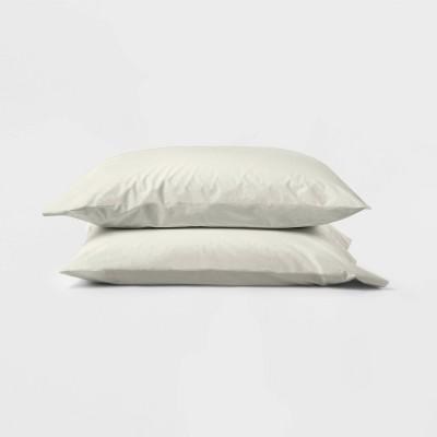 Standard Washed Supima Percale Solid Pillowcase Set Natural - Casaluna™
