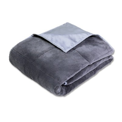 """50"""" x 70"""" Cooling 12lb Weighted Bed Blanket Gray - Calming Comfort"""