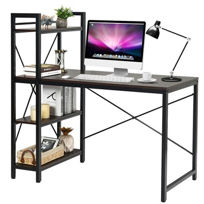 """Costway 47.5"""" Computer Desk Writing Desk Study Table Workstation With 4-Tier Shelves"""