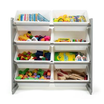 Toy Storage Organizer with 8 Large Storage Bins Gray/White - Humble Crew
