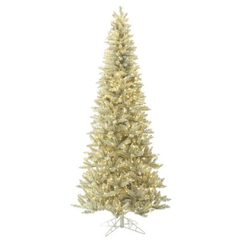 65ft pre lit slim artificial christmas tree platinum fir with 650 warm white led lights - Pre Lit Slim Christmas Tree