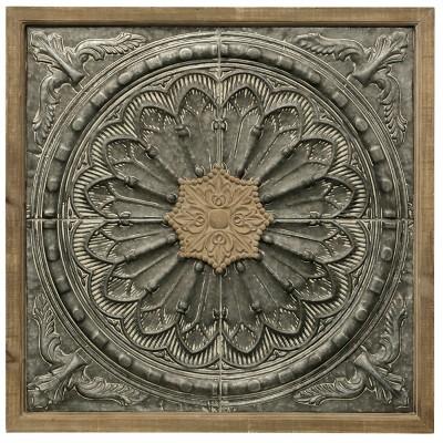 34.7  Floral Wood & Metal Decorative Wall Art Gray - StyleCraft