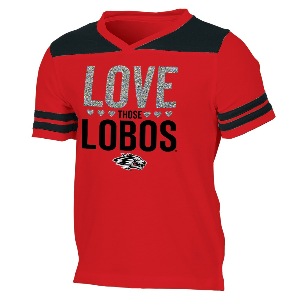 New Mexico Lobos Girls' Short Sleeve Team Love V-Neck T-Shirt XS, Multicolored