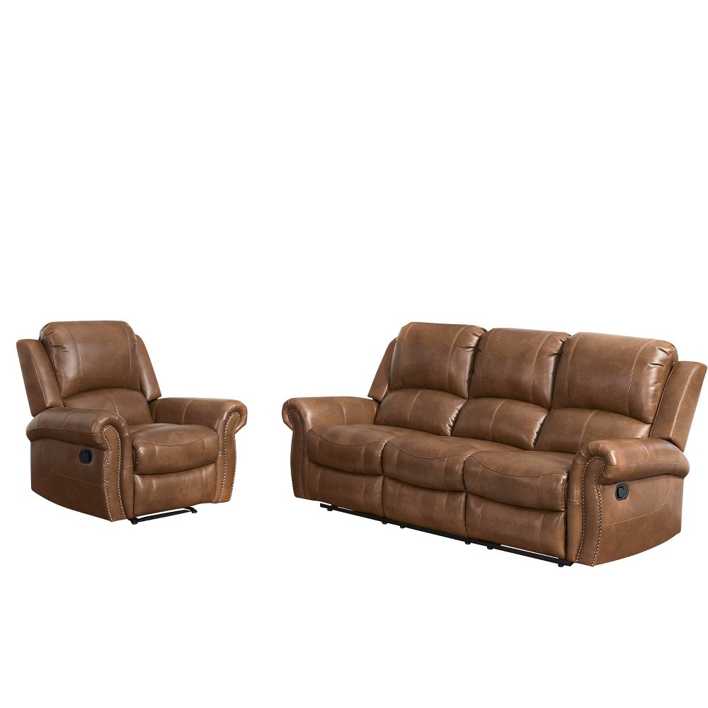 Image of 2pc Lorenzo Leather Reclining Set Cognac (Red) - Abbyson Living