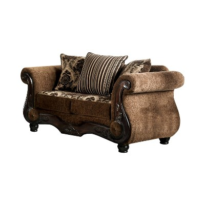 St. Lucia Rolled Arms Loveseat Brown/Dark Walnut - HOMES: Inside + Out