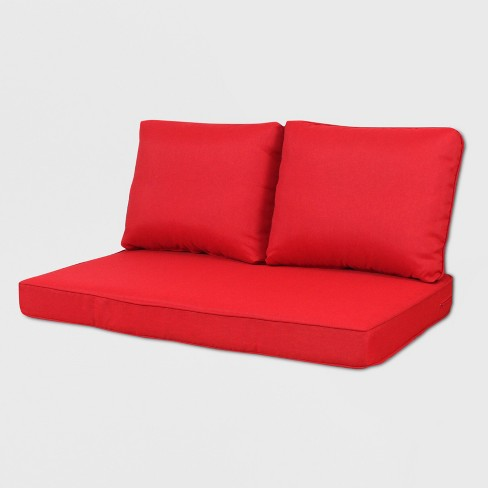 Tremendous Rolston 3Pc Outdoor Loveseat Cushions Red Grand Basket Creativecarmelina Interior Chair Design Creativecarmelinacom