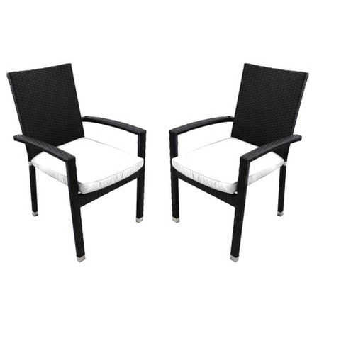 Phenomenal Northlight 2Pc Wicker Outdoor Patio Furniture Dining Chairs With Cushions Black White Alphanode Cool Chair Designs And Ideas Alphanodeonline