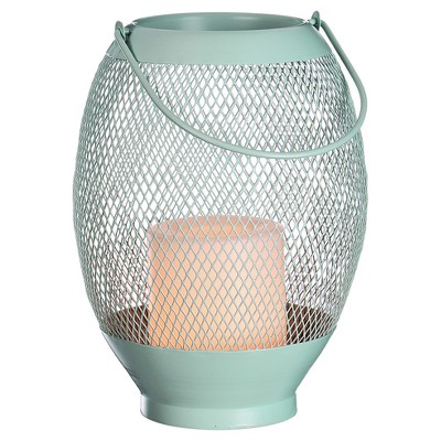 8.5  Metal Wire Mesh Outdoor Lantern Flameless Candle - Green - Room Essentials™