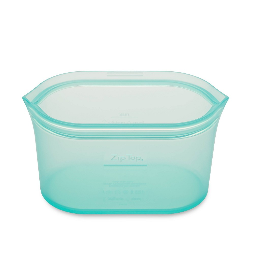 Image of Zip Top 32oz Reusable 100% Platinum Silicone Container - Large Dish - Teal