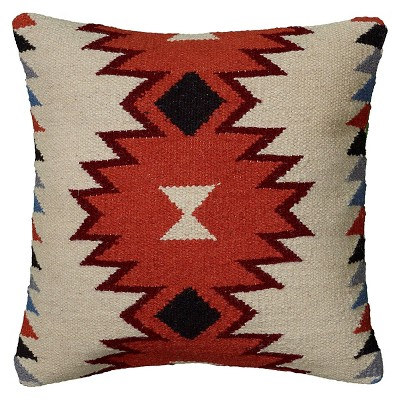 "18""x18"" Southwestern Striped Square Throw Pillow Ivory - Rizzy Home"