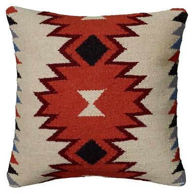 """Orange/Ivory Southwestern Stripe Throw Pillow 18""""x18"""" - Rizzy Home"""