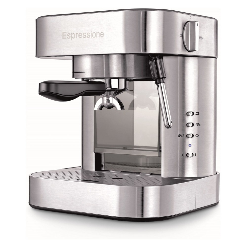 Image of Espressione Automatic Pump Espresso Machine with Thermo Block System Stainless Steel (Silver) - EM-1020