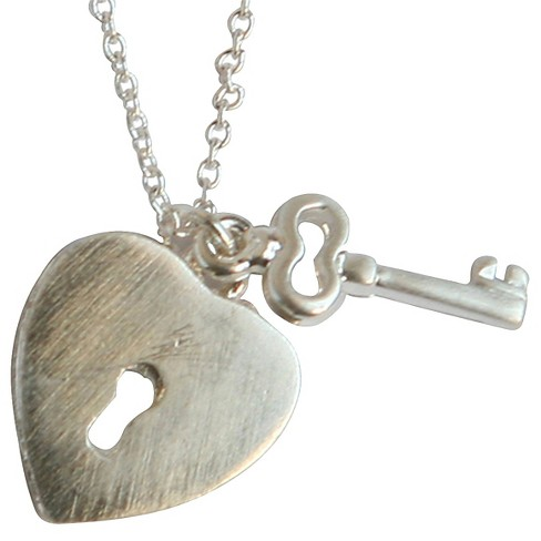 """Zirconite Brushed Heart Lock and Key Charms Pendant Necklace Silver - 16"""" - image 1 of 1"""