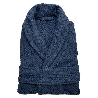 Herringbone Weave Bathrobe - Midnight Blue (Small/Medium)- Unisex - Linum Home