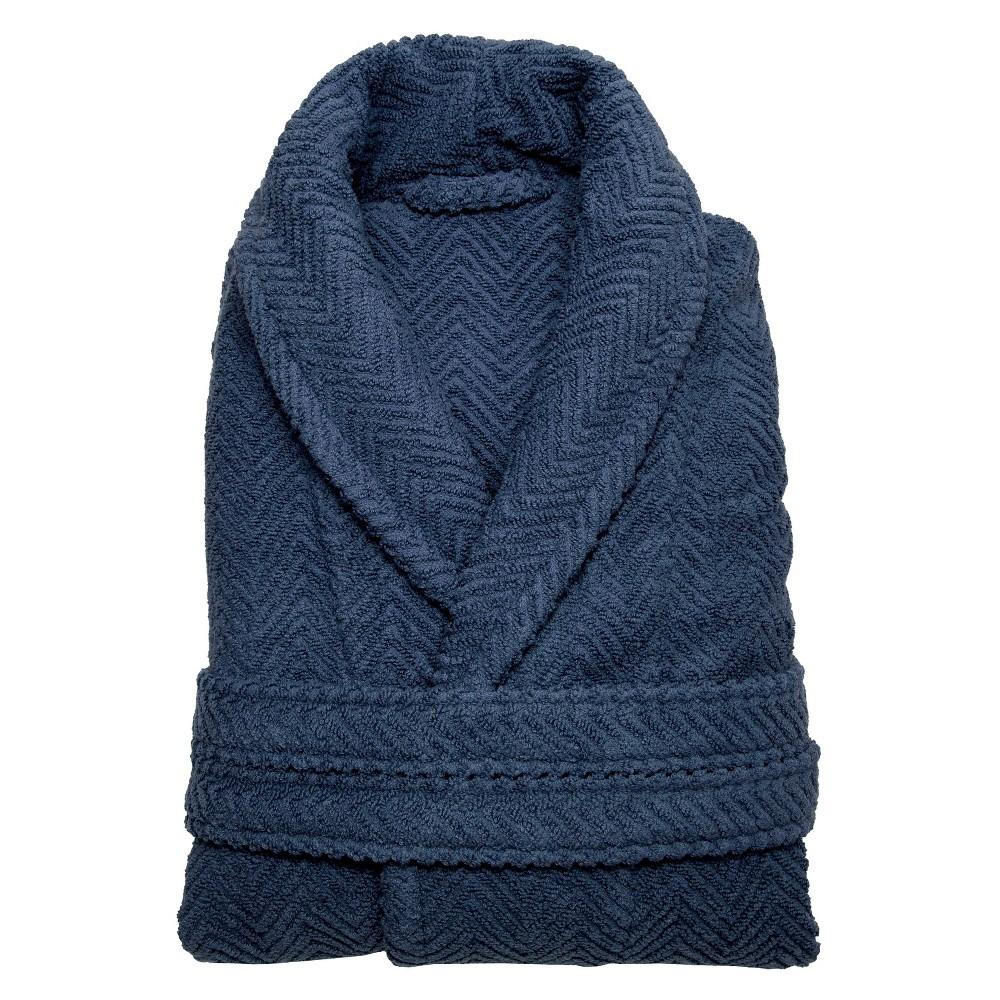Herringbone Weave Bathrobe Midnight Blue Small Medium Unisex Linum Home