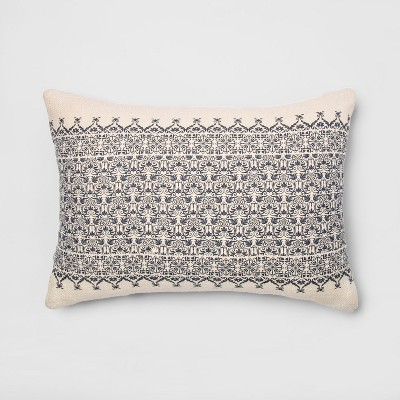 Printed Lumbar Throw Pillow Cream/Blue - Threshold™