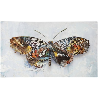 Hand Embellished Pretty in Passing Butterfly on Stretched Unframed Wall Canvas - StyleCraft