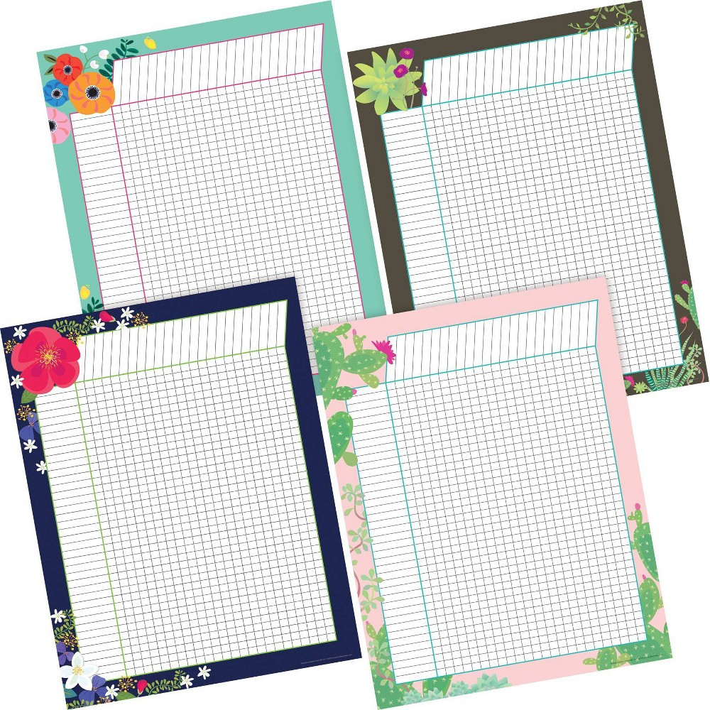 Image of Barker Creek 4pc Petals and Prickles Incentive Chart Set