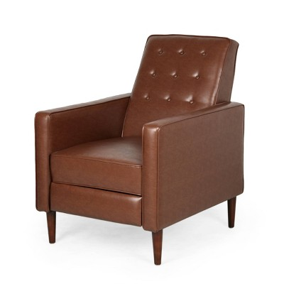 Mervynn Mid-Century Modern Button Tufted Recliner Cognac Brown/Dark Espresso - Christopher Knight Home