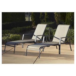 Cosco Serene Ridge 2 Piece Aluminum Outdoor Adjustable Chaise Lounge Chair Set - Brown